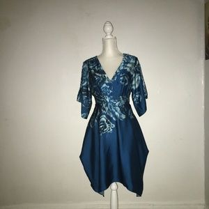 V-NECK FLORAL SATIN FIT-AND-FLARE DRESS Sz 2